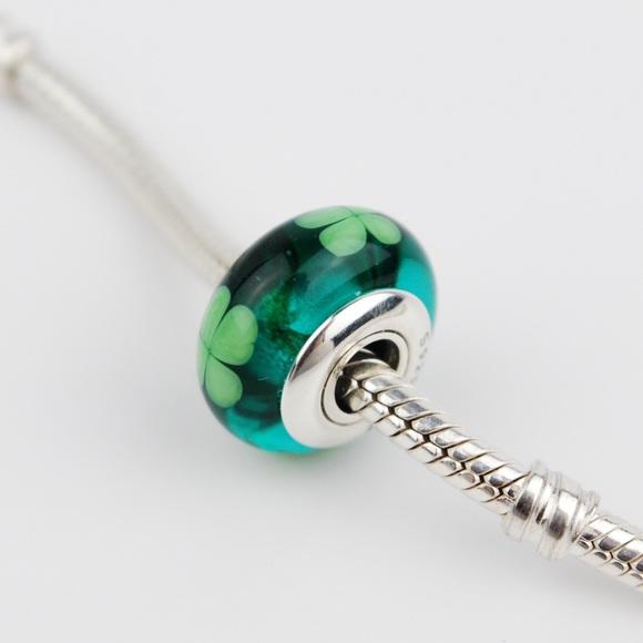01dee55ae Pandora Jewelry | Green Murano Glass Four Leaf Clover Bead | Poshmark